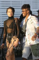 Shanina Shaik Wears a revealing outfit to go see Gucci Gang at Coachella