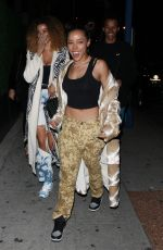 Tinashe Heads to the Delilah restaurant with her friends in West Hollywood