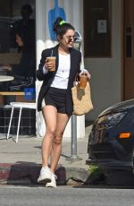Vanessa Hudgens Grabs two iced coffees to go and then pumps gas in LA