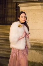 Elizabeth Gillies Filming of Netflix Dynasty Season 2 front the Louvre museum in Paris, France