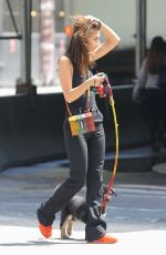Emily Ratajkowski Walks her adopted puppy Colombo in NYC
