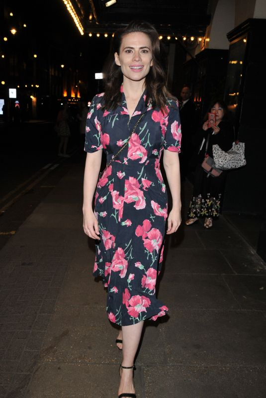 Hayley Atwell Leaving the Rosmersholm theatre in London