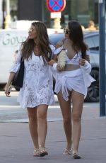 Jessica Wright and Natalya Wright at a beach club in Marbella celebrating a friends birthday