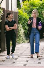 Julianne Hough Leaves a business meeting with her assistant in Los Angeles