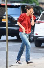 Katie Holmes On her phone out in NYC