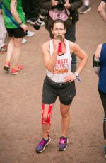 Kirsty Gallacher At the finishing line of the Virgin Money London Marathon, in London