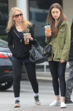 Lily Collins and her mother Jill Tavelman are seen at Starbucks in West Hollywood