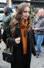 Lily Collins At Kiss Radio in London