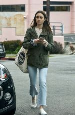 Lily Collins Fuels up and gets some grocery shopping done in West Hollywood