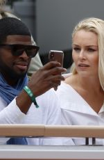 Lindsey Vonn and Pernell Karl Subban during French Tennis Open at Roland-Garros arena in Paris