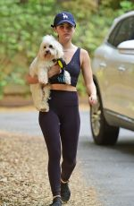 Lucy Hale Takes her dog Elvis out for hike during a break in her busy filming schedule in LA