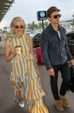 Pixie Lott and Oliver Cheshire is seen at Nice airport as part as the 72nd Cannes Film Festival in Nice