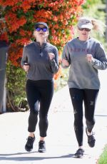 Reese Witherspoon Enjoys a jog with a friend in Brentwood