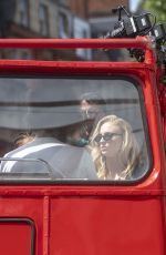 Sophie Turner, Jessica Chastain & Alexandra Shipp Board a red bus in London