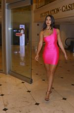 Tao Wickrath Leaves a bar wearing a hot neon color tight dress in Las Vegas