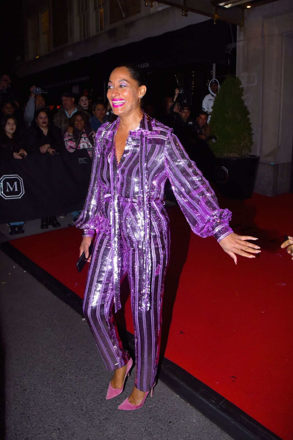 Tracee Ellis Ross In purple as she leaves the Mark Hotel to head to