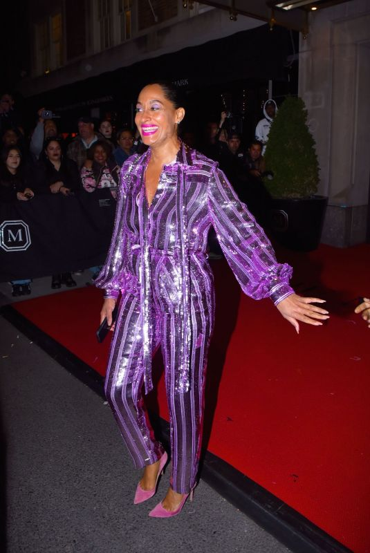 Tracee Ellis Ross In purple as she leaves the Mark Hotel to head to the Met Gala after party
