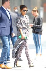 Victoria Beckham Sports pretty florals for business meetings in NYC
