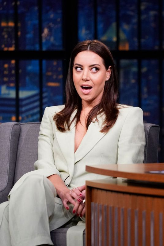 Aubrey Plaza During an interview with host Seth Meyers
