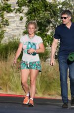 Britney Spears Wearing shorts while leaving a yoga class in Los Angeles