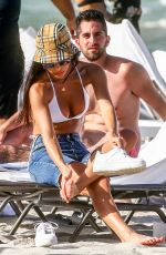 Chantel Jeffries In white on the beach in Miami