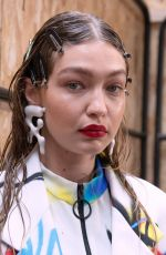 Gigi Hadid At Off-White Menswear Spring Summer 2020 show backstage in Paris, France