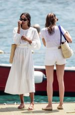 Laura Harrier and Eleonore Toulin pictured having a great time during a boat ride while on holiday in Positano