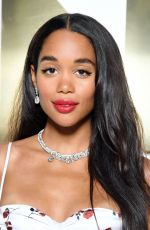Laura Harrier Attends the Bvlgari Hight Jewelry Exhibition