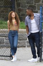 Leslie Grace On the set of In The Heights in New York