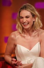 Lily James During the filming for the Graham Norton Show at BBC Studioworks 6 Television Centre, Wood Lane, London