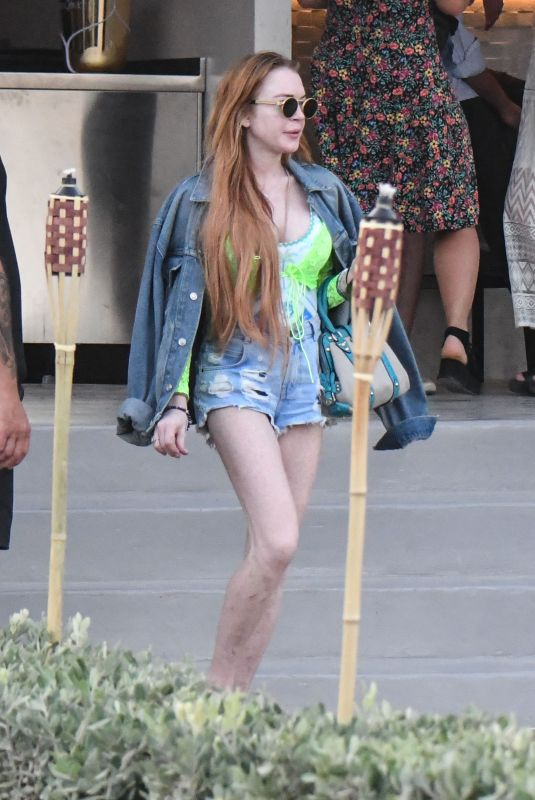 Lindsay Lohan Stepping out in Mykonos