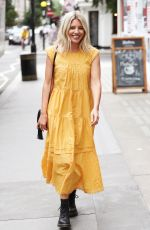 Mollie King In juice bar in summer dress with friends in London