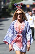 Amanda Holden Celebrates American Independence Day exits Heart Radio in London