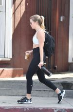 Ava Phillippe Gets a cold drink after a trip to the gym in Brentwood