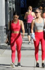 Camila Mendes and Rachel Matthews going to the gym in Vancouver