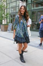 Camila Morrone In a floral mini dress greeting fans in New York