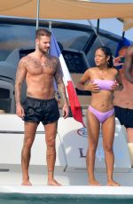 Christina Milian In bikinis on a boat in French Riviera