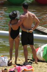 Elsa Pataky Wearing in a black swimsuit in the Senpere Lake in the south of France