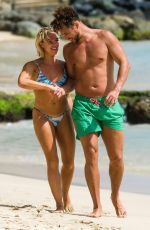 Gabby Allen and boyfriend Myles Stephenson are seen out in Barbados