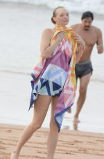 Gemma Ward At beach workout at Palm beach