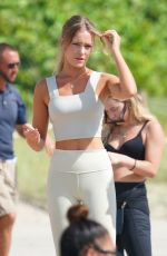 Georgia Gibbs Does yoga in a grey outfit at the beach in Miami Beach