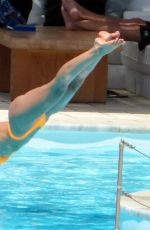 Izabel Goulart Has fun at the pool on Mykonos Island in Greece