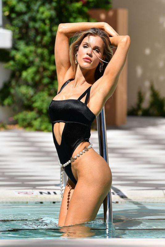 Joy Corrigan On the set of a Photoshoot at a Pool in Miami