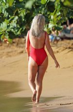 Katy Perry In a Red Swimsuit at a Beach in Hawaii