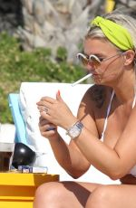 Kerry Katona Relaxes on her sunbed on holiday in Mykonos