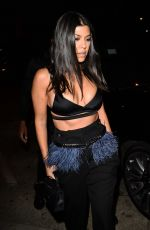Kourtney Kardashian In all black as she arrive for a dinner party at Craig