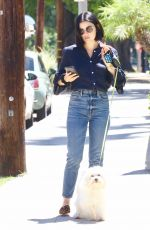 Lucy Hale Takes Elvis out for a walk in Studio City