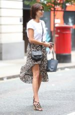 Melanie Sykes Flashes legs in summer skirt while exiting BBC Radio in London