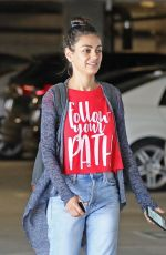 Mila Kunis Gets her nails done at a local nails salon after having lunch with a friend at Sweet Butter in LA