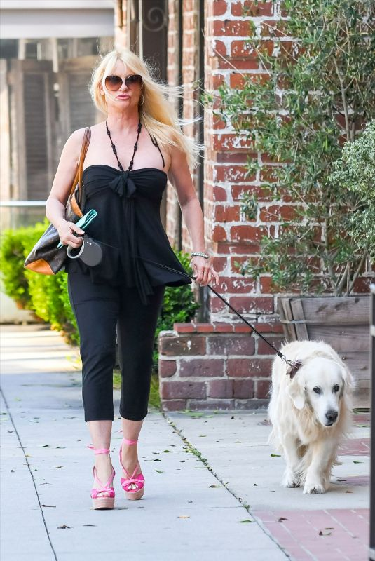 Nicollette Sheridan Takes her dog for a walk while doing some shopping in town, Los Angeles